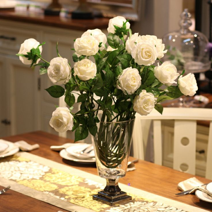 American Style Artificial Flower Peacock Rose Artificial Flower Decoration  Living Room Decoration Silk Flower Bowyer US