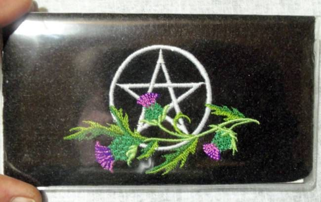 Pagan ,Pentagram,Thistle, Checkbook Cover,Wiccan, Pagan, Pagan Design, by NittyGrittyThreads on Etsy