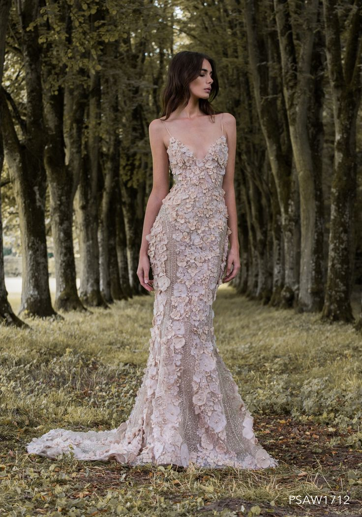 PSAW1712 - Silk flower fishtail gown with gossamer wing embroidery