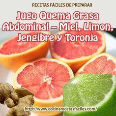 Recetas fáciles: Jugo quema grasa abdominal- Miel,limón,jengibre y toronja  #Nutrición y #Salud YG > nutricionysaludyg.com