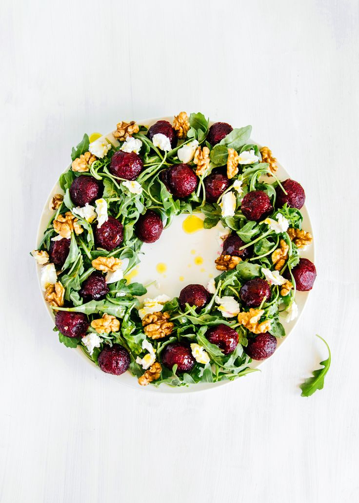 Oh my! Christmas Wreath Salad - Beet, goat cheese, rocket and walnut – I Quit Sugar