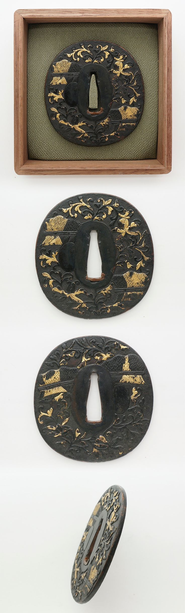 Azuchi Momoyama period Special feature : Brushwood fence design carved on Yamagane Nanakoji plate and inlaid with gold. Brushwood fence has a meaning for boundary between 'sanctuary' in Japanese Shinto shrine.