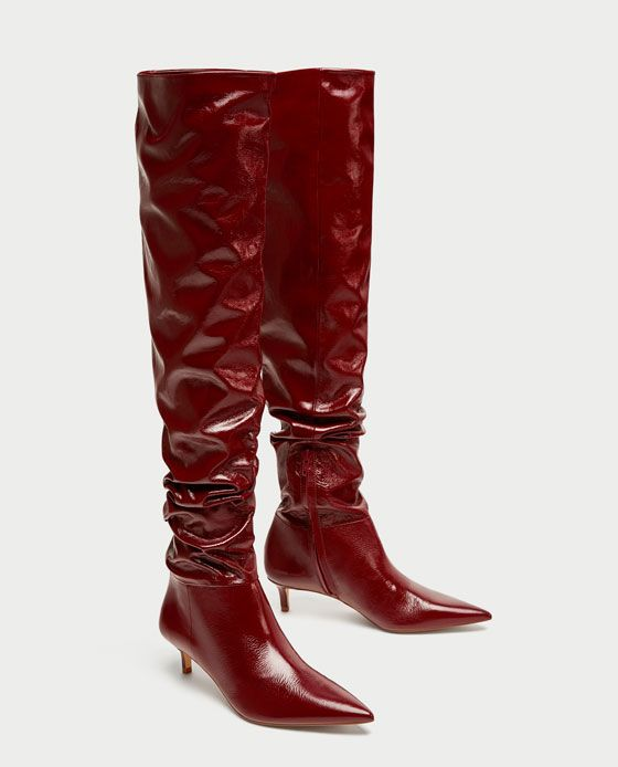 Image 4 of GATHERED LEATHER OVER THE KNEE HIGH HEEL BOOTS from Zara
