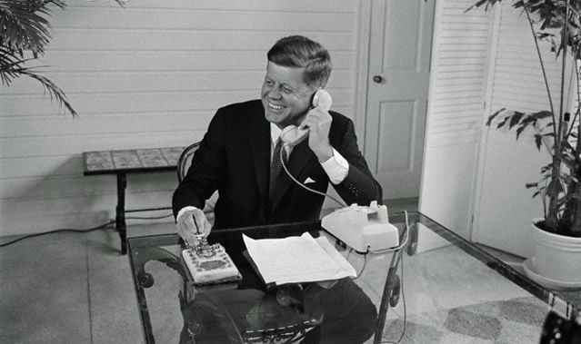 April 21, 1962: President John F. Kennedy opens the 1962 World's Fair in Seattle by sending a signal from a gold telegraph key via a star in space from the Paul House in Palm Beach.
