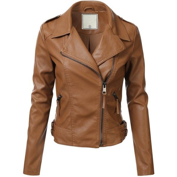 FLORIA Women Faux Leather Jacket w/ Zipper Closure (6 Colors... ($35) ❤ liked on Polyvore featuring outerwear, jackets, zip jacket, imitation leather jacket, zipper jacket, faux leather jacket and brown jacket