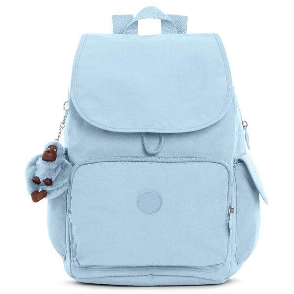 Kipling Ravier Medium Backpack (360 BRL) ❤ liked on Polyvore featuring bags, backpacks, serenity, kipling rucksack, strap backpack, kipling backpack, rucksack bags and cinch backpack