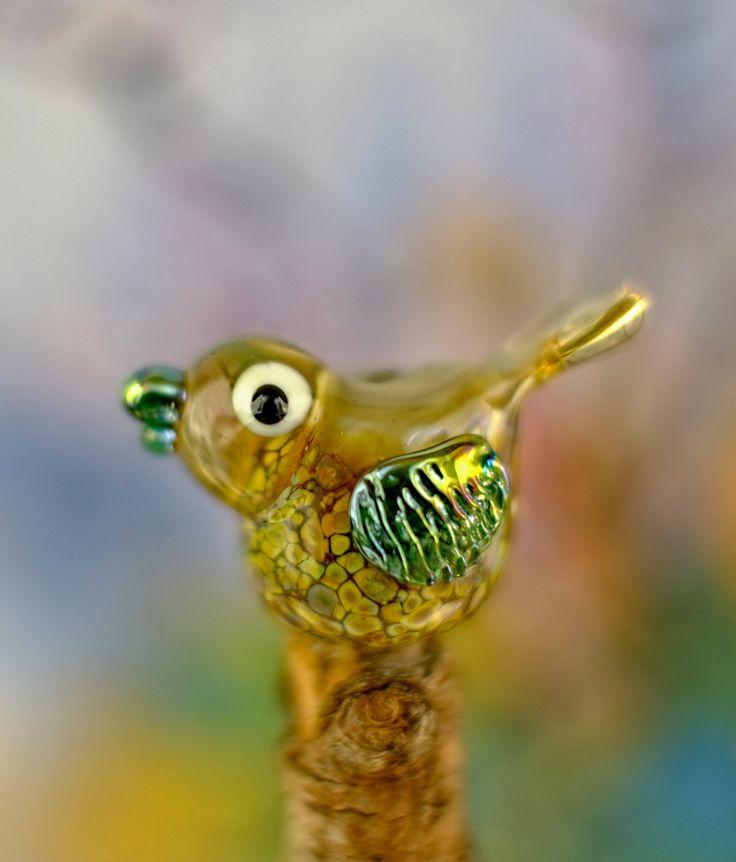 opal lampwork owl bead