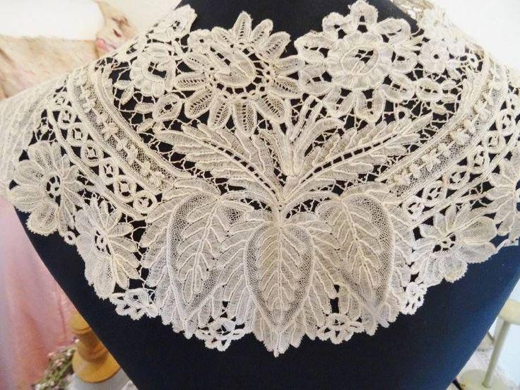 A Stunning Victorian Brussels Lace Bertha Collar   eBay