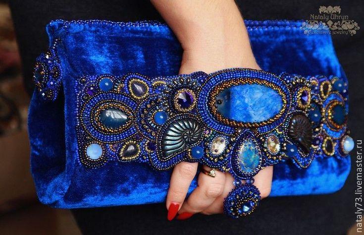 Купить сумочка ''Бархатный сапфир '' - синий, орнамент, сумочка ручной работы, сумочка вечерняя