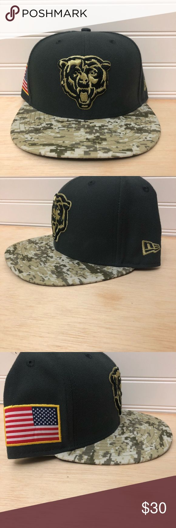 New Era Chicago Bears Fitted Cap Salute to Service New Era Chicago Bears Authentic and ORIGINAL 59FIFTY fitted poly hat by New Era. '2016 SALUTE-TO-SERVICE' has charcoal grey crown with DIGITAL desert storm camouflage camo visor in green, brown and tan, black undervisor, raised embroidered team logo on front in matching light green and black, New Era logo on side, embroidered USA Flag applique on opposite side, embroidered NFL shield logo on back with digital camo military ribbon New Era…
