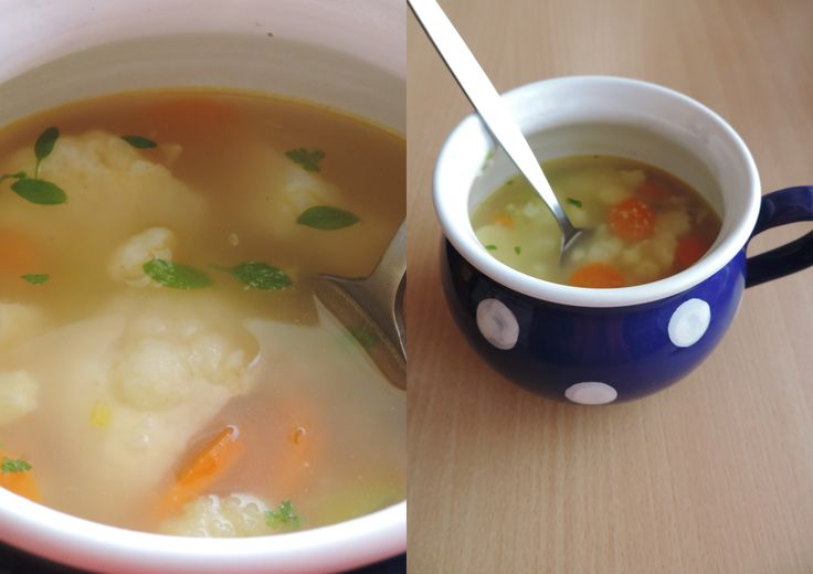 Easy and delicious cauliflower soup. Just cook leek, cauliflower and carrot toghether and at the end add a bit of couscous. And to make it prettier some fresh petroselinum. Enjoy! :)