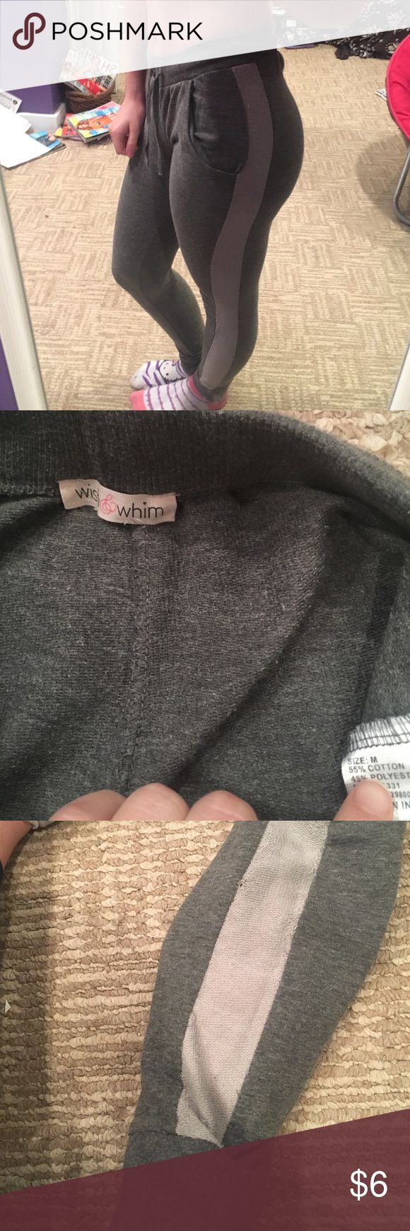 GREY JOGGERS Grey joggers / sweatpants with flirty and fun light grey mesh look like side panel down each leg. As shown in third photo here is a very small hole , my hand is underneath it in photos to show that it is not noticeable . Price reflects on the flaw . Other than that great condition super comfy sexy and cozy smoke free home fast shipping jcpenney Pants Track Pants & Joggers