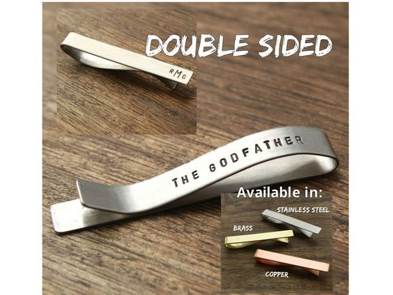 For Godfather Tie Clip The Godfather Gift For Dedication For First Communion For Baptism For Confirmation www.sierrametaldesign.com: