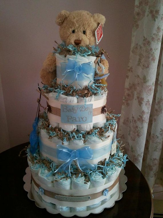 Custom Baby Boy Diaper Cake In 2019 Baby Shower