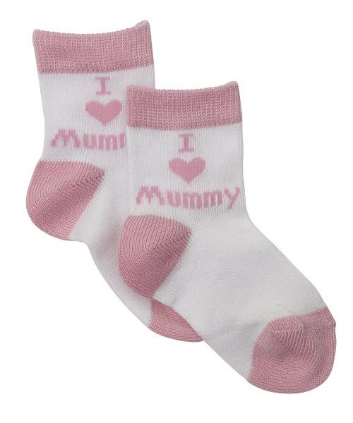 I Love Mummy Socks Pink