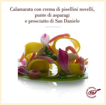 Calamarata con crema di pisellini novelli, punte di asparagi e prosciutto di #SanDaniele. http://www.prosciuttosandaniele.it/home_prosciuttosandaniele.php?n=391&l=it
