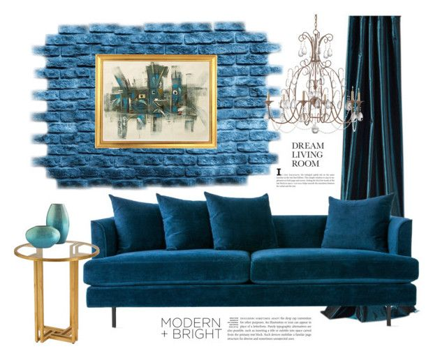 blue velvet by maria-tzi on Polyvore featuring beauty, Currey & Company, Gus* Modern, Andrew Martin and NOVICA