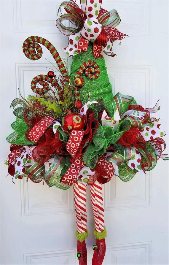 22863482726 Elf Wreath Elf Door Decor Elf Hat Door Wreath Christmas