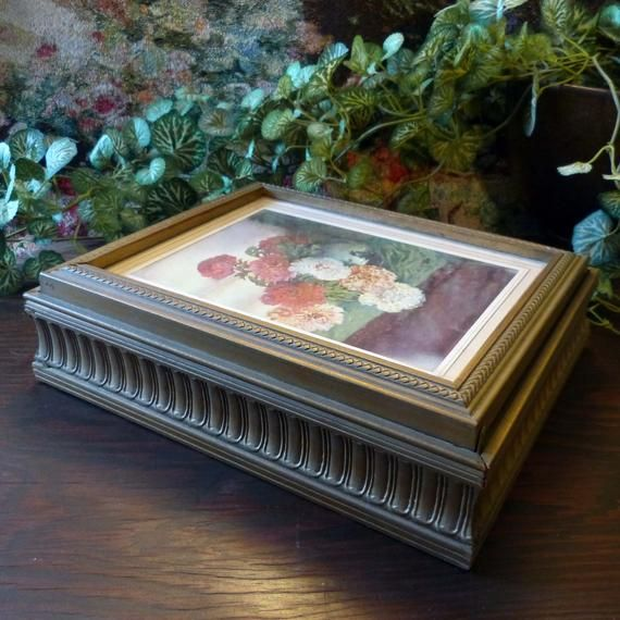 Picture Frame Wooden Jewelry Box With Decorative Molding And