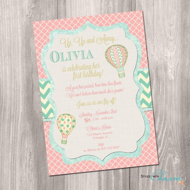 wording ideas forst birthday party invitation%0A Hot Air Balloon Birthday Invitation Shabby Chic Printable Baby Girls First  Bday Invitation of Adorable Birthday Party Invitation Template Ideas For  Boys and