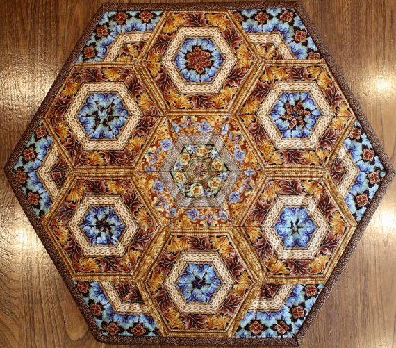 Quilted Table Topper Centerpiece Pieced Hexagons Copper Brown Turquoise Copper