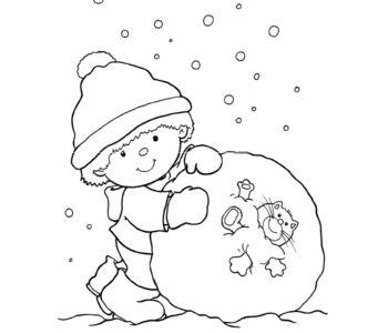 Kolorowanka - Chłopiec toczy śnieżną kulę