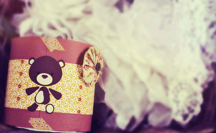 spring time....teddy bear on mini diaper cake...