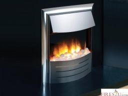 The Flamerite Fires Cisco is simple yet effective inset electric fire in chrome. This fire has a gentle chrome curved front and matching trim and comes with a choice of pebbles or coals for the fuel bed. It features discreet manual controls and has a heather with two heat settings.  his Flamerite electric fire comes with a  Nitra 3D Flame  picture which produces a strong and radiant flame image with a deep fuel reflection.