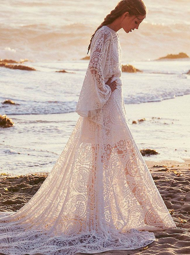 gorgeous lace Free People wedding dress
