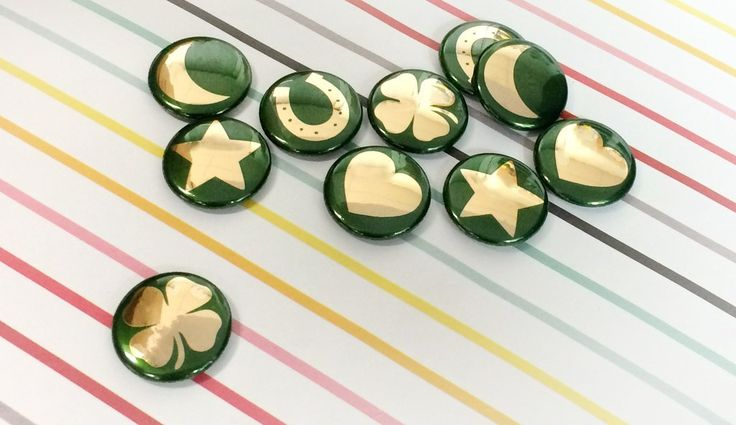 Making some of our own St. Patrick's Day luck with these buttons!
