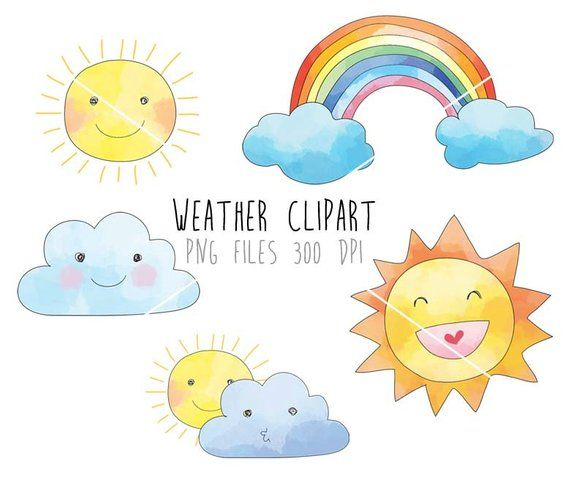 Weather Clip Art Rain Cloud Raindbow Clipart Png File 300 Etsy In 2021 Clip Art Rain Clouds Art