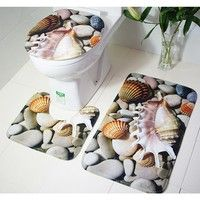 Wish | 3 Pieces/Set Beautiful Ocean Scene Style Carpet Toilet Mat Three Sets Bath Mat For Bathroom
