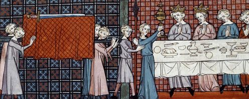 The holy Grail, from the tale of Perceval by Chrétien de Troyes.