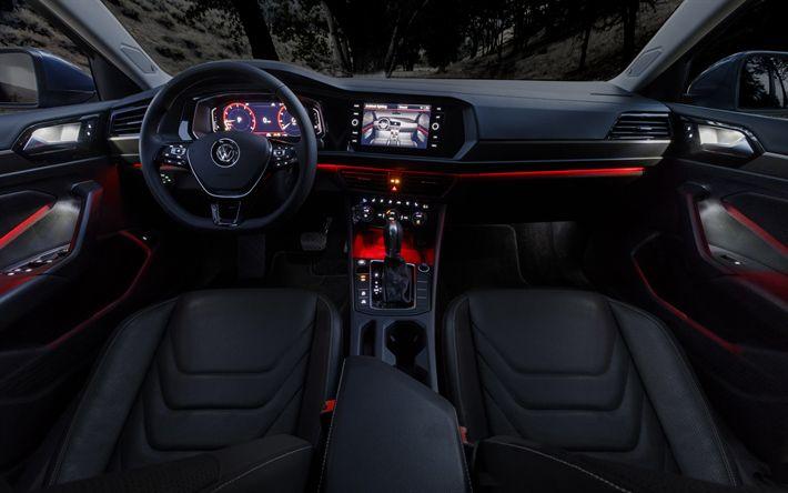 Download wallpapers Volkswagen Jetta, 4k, interior, 2019 cars, VW Jetta, Volkswagen