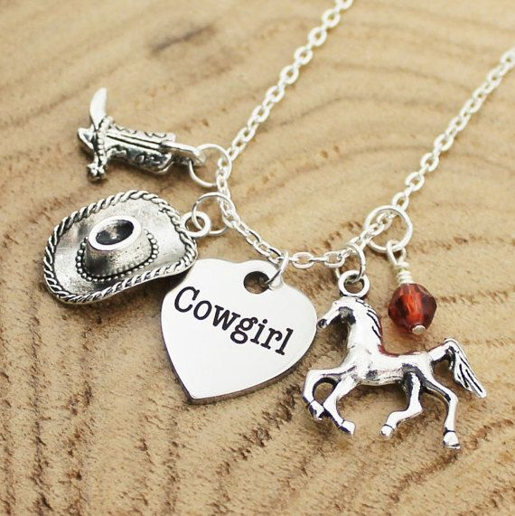 Cowgirl Necklace Charm Necklace Custom by RootedInLoveCustom