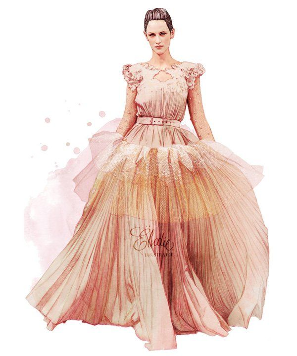 Fashion sketches by Ëlodie - Ëlodie, fashion illustrator from Paris, developed her own realistic and poetic style. As can be seen she prefers to use traditional techniques, but she tries to improve her style and use something new. It is like looking at the real fashion show. Here we have got a beautiful evening dress or even wedding one with lace insets and a bit unusual for such type of clothes belt. Because of soft colors and airy shape this gown seems like a dress for a princess.
