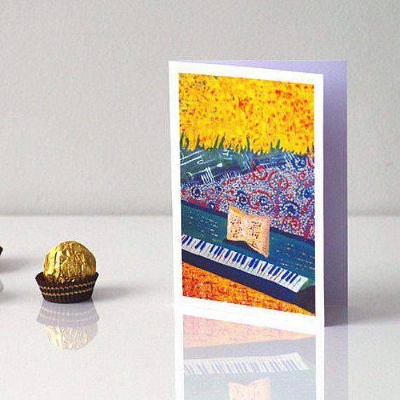 MUSIC CARD Pianist birthday card - Piano greeting card - Piano birthday card - Musical greeting card - Happy birthday card - Piano gift - Piano art card