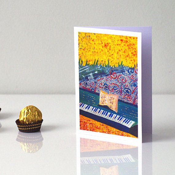 MUSIC CARD Pianist birthday card - Piano greeting card - Piano birthday card - Musical greeting card - Happy birthday card - Piano gift - Piano art card