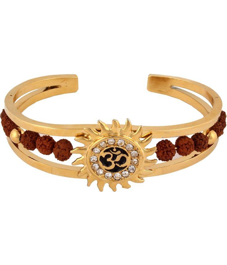 Buy The Jewelbox Rudraksh American Diamond Gold Meena Om Sun Men Cuff K... from Snapdeal