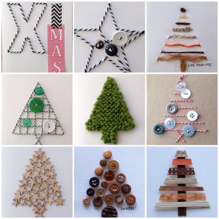 kerstkaarten: gemaakt met o.a. natuurlijke materialen zoals touw, knopen, papier, wol, hout (sterren) en washitape