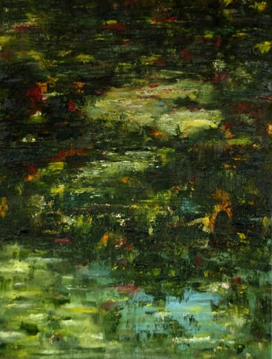 Waterspiegeling-zomer. Water reflexion- summer. Oilpainting on linnen. Size: 80 x 40 cm. FOR SALE: €  325,00 Part of a series: Water reflexions.