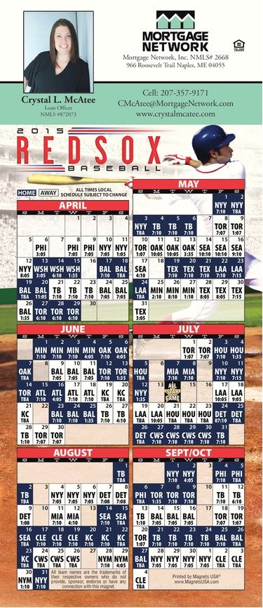 Red Sox Baseball Schedule 2015 #redsox #baseball Crystal McAtee - Maine Loan Officer #872073
