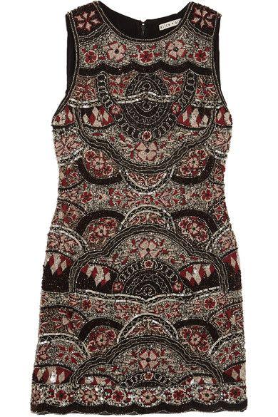 Alice Olivia - Sherley Embellished Silk-chiffon Mini Dress - Black - US12