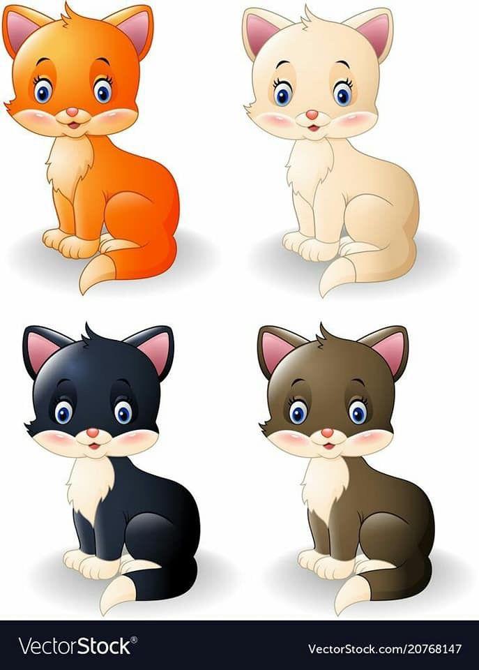 بطاقات رووووعة لتمييز الالوان مفيدة لزيادة التركيز والتواصل البصري عندما يتراوح عمر الطفل مابين 2 3 سنوات يكون قد اصبح مستعد لتعلم الالوان ولكن ليس بالضرورة Cat Vector Cats Illustration Cute Little Kittens