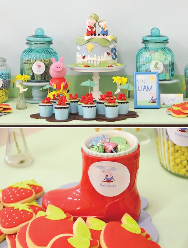 Love this Peppa Pig dessert table (rainboots as candy dishes - genius!) Peppa Pig is just so adorable!