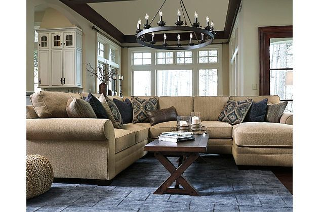 Amandine 4 piece sectional by ashley homestore brown products pinterest designer pillow for Living room furniture configurations