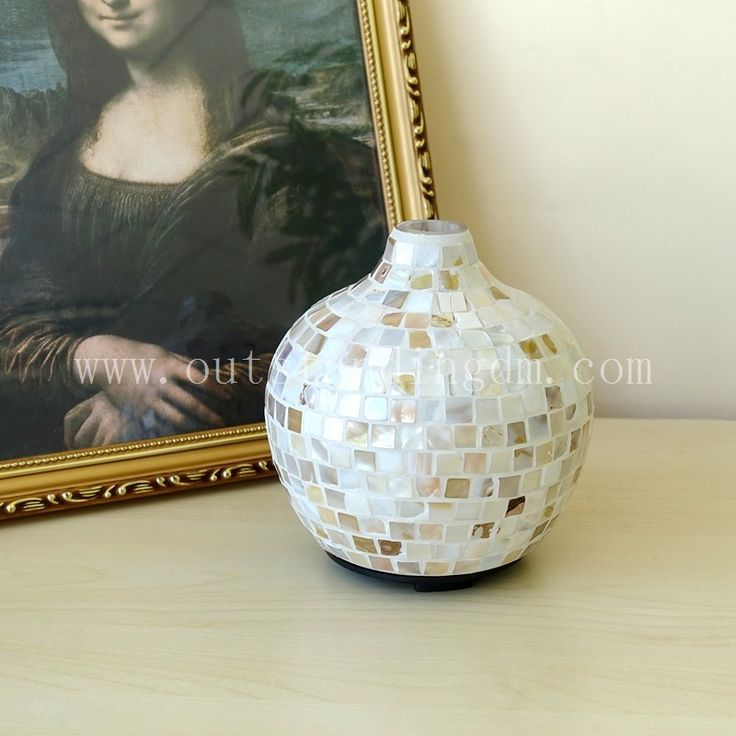 Mosaic Glass Oil Diffuser With Long Bottleneck For Home Decoration Humidifier Electric Aroma Diffuser