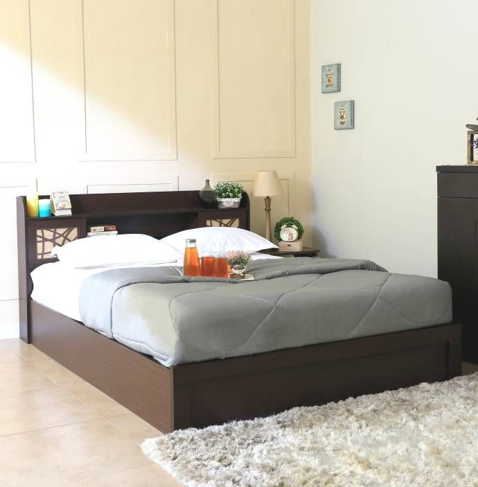 Spacewood Mayflower Engineered Wood Queen Bed With Storage Finish Color Brown Onlyonflipkart Solid Wood Bed Storage Bed Queen Engineered Wood