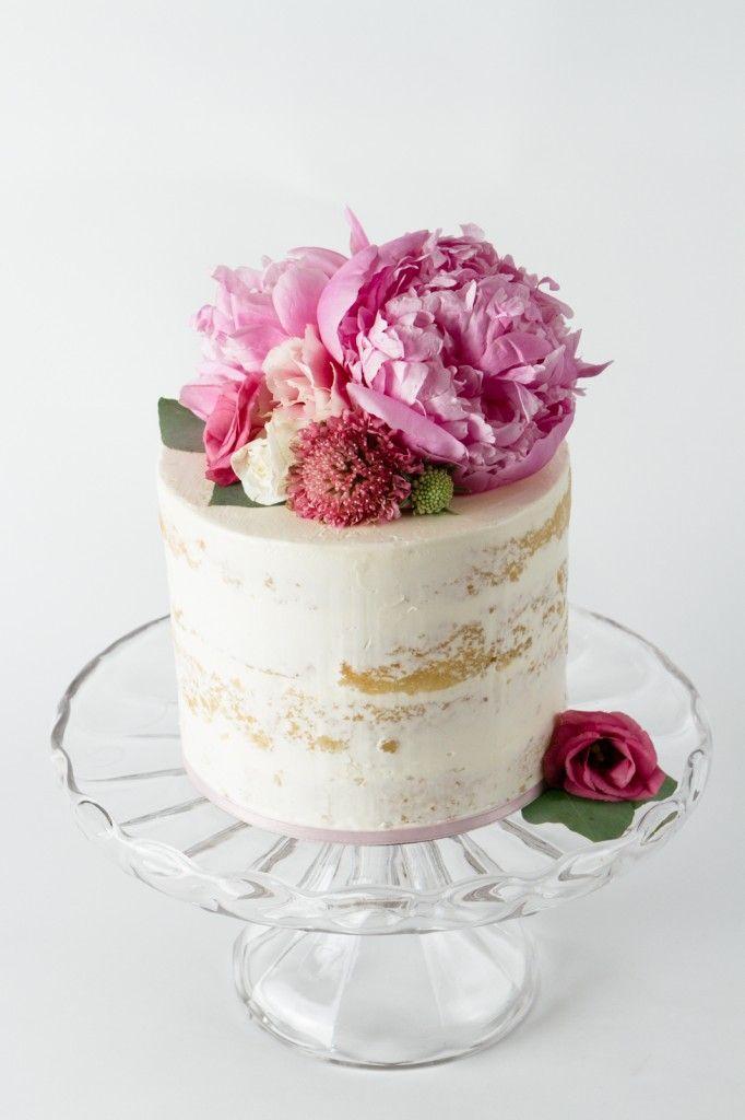nearly naked cake - sooo pretty! we ❤ this! moncheribridals.com #nakedweddingcake
