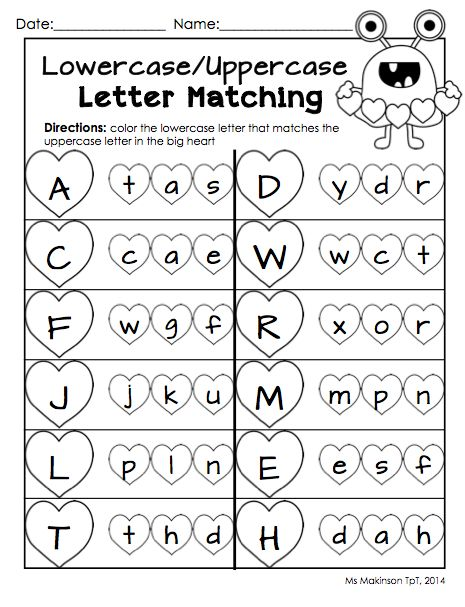 February Printable Packet - Kindergarten Literacy and Math. Uppercase/lowercase letter matching worksheet for Valentine's Day.